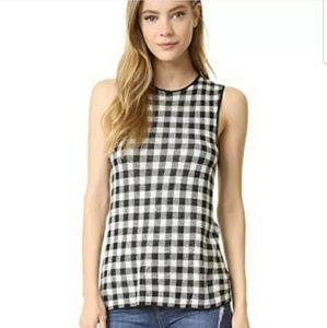 Jenni Kayne Sleeveless Gingham Sweater S Cashmere